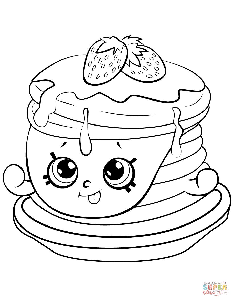 Ultra Rare Strawberry Pancake Shopkin Coloring Page Free