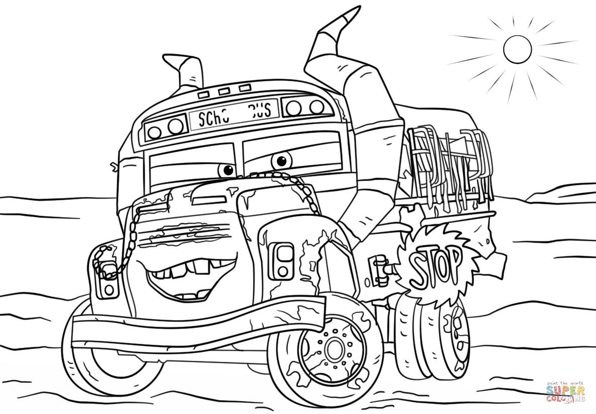Miss Fritter From Cars 3 Coloring Page Free Printable Coloring Pages