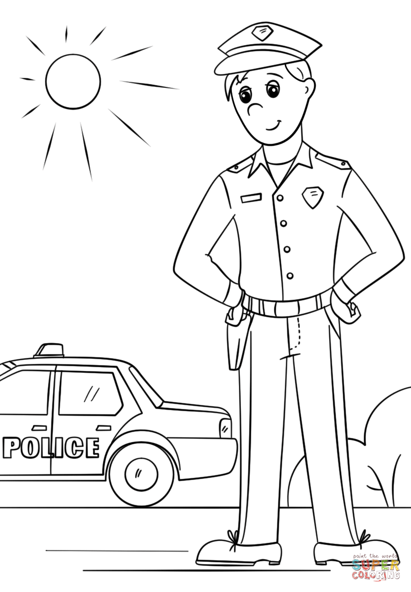 Police Officer Coloring Page Free Printable Coloring Pages