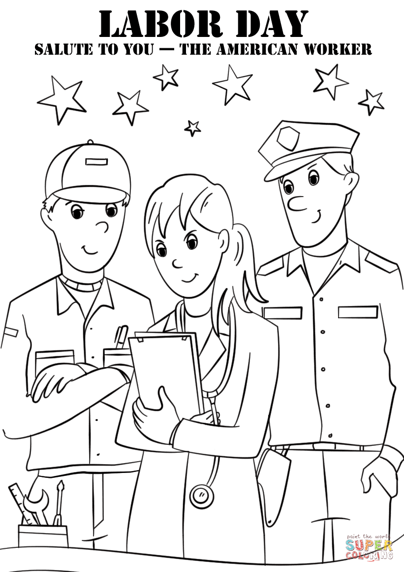 Labor Day Salute To You The American Worker Coloring Page Free