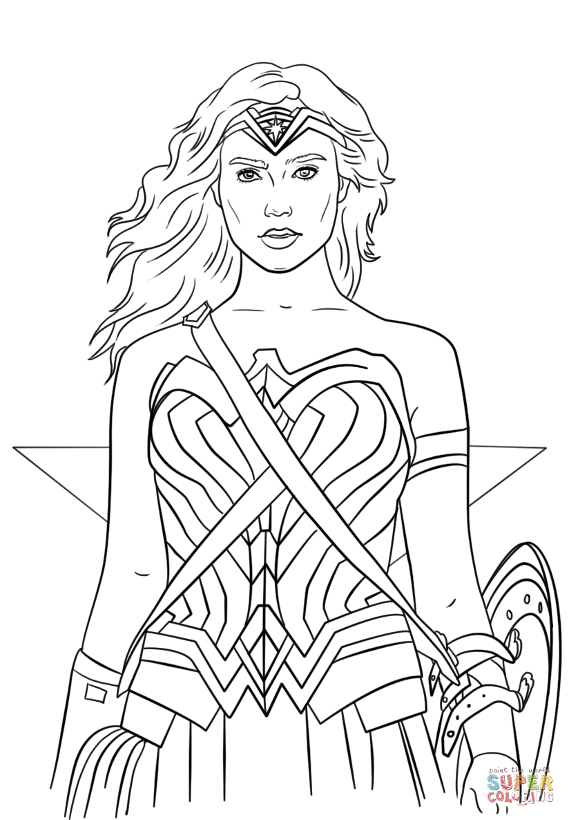 Wonder Woman Portrait Coloring Page Free Printable Coloring Pages