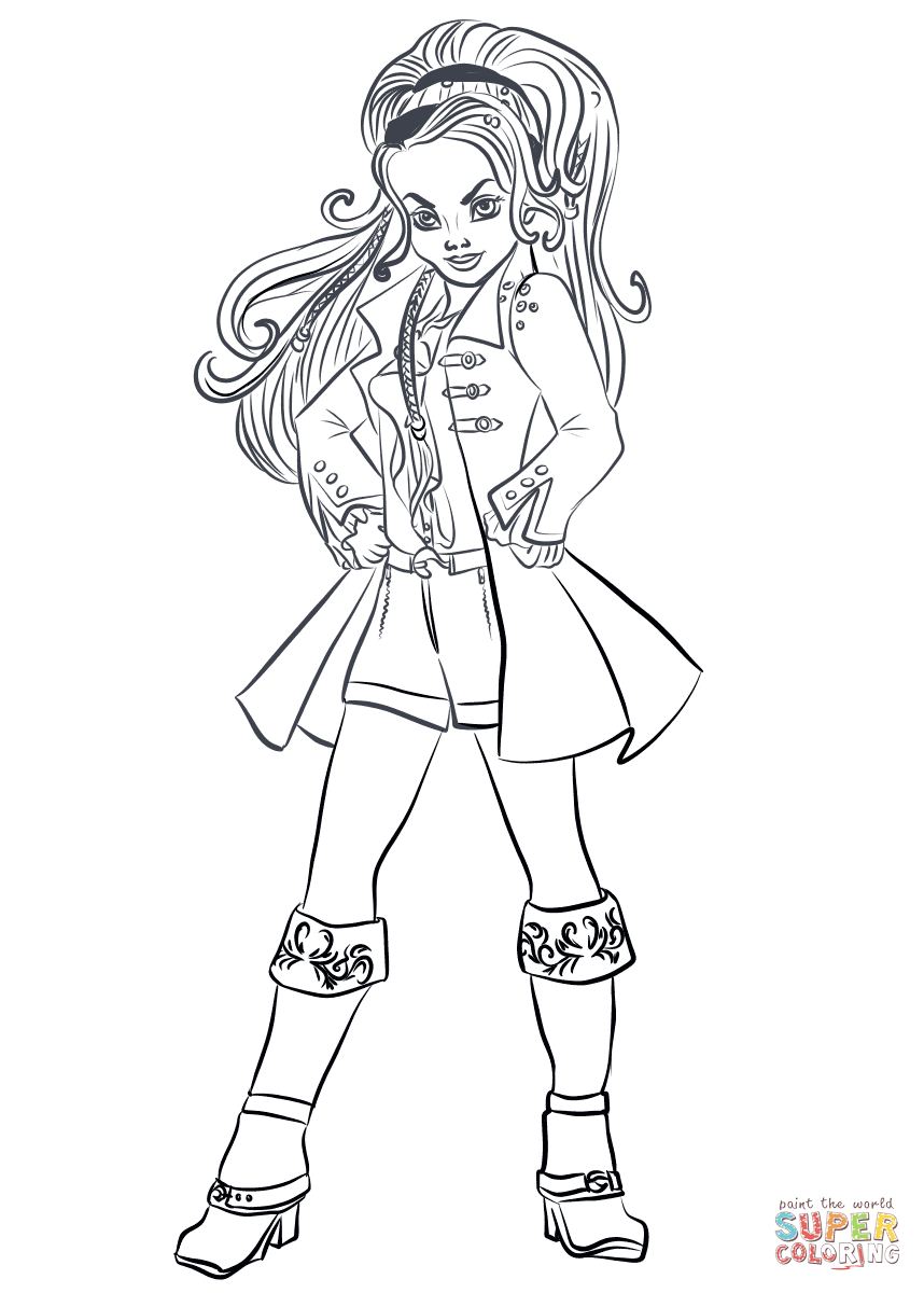 Descendants Wicked World Cj Hook Coloring Page Free Printable