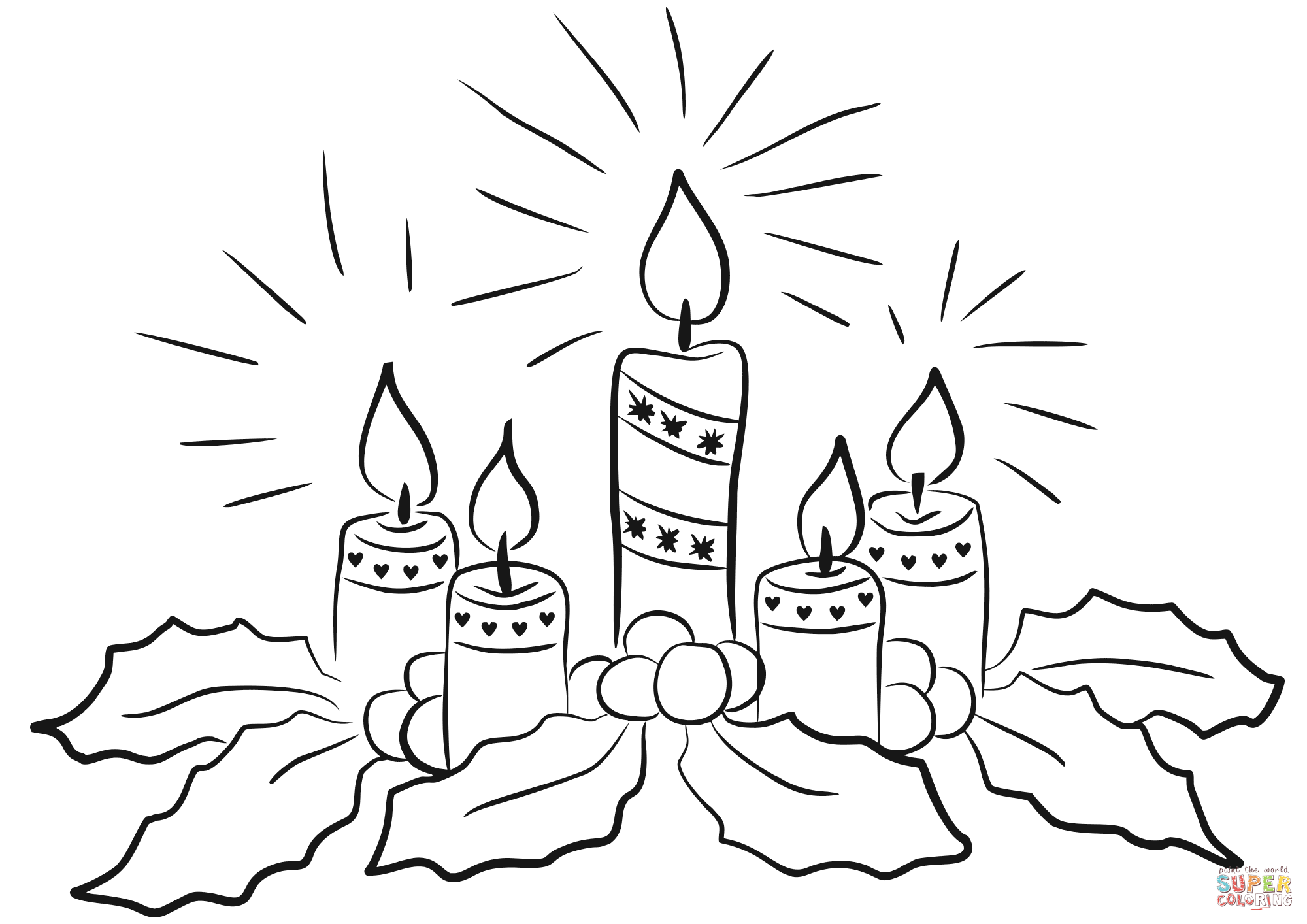 Advent Candles Coloring Page Free Printable Coloring Pages