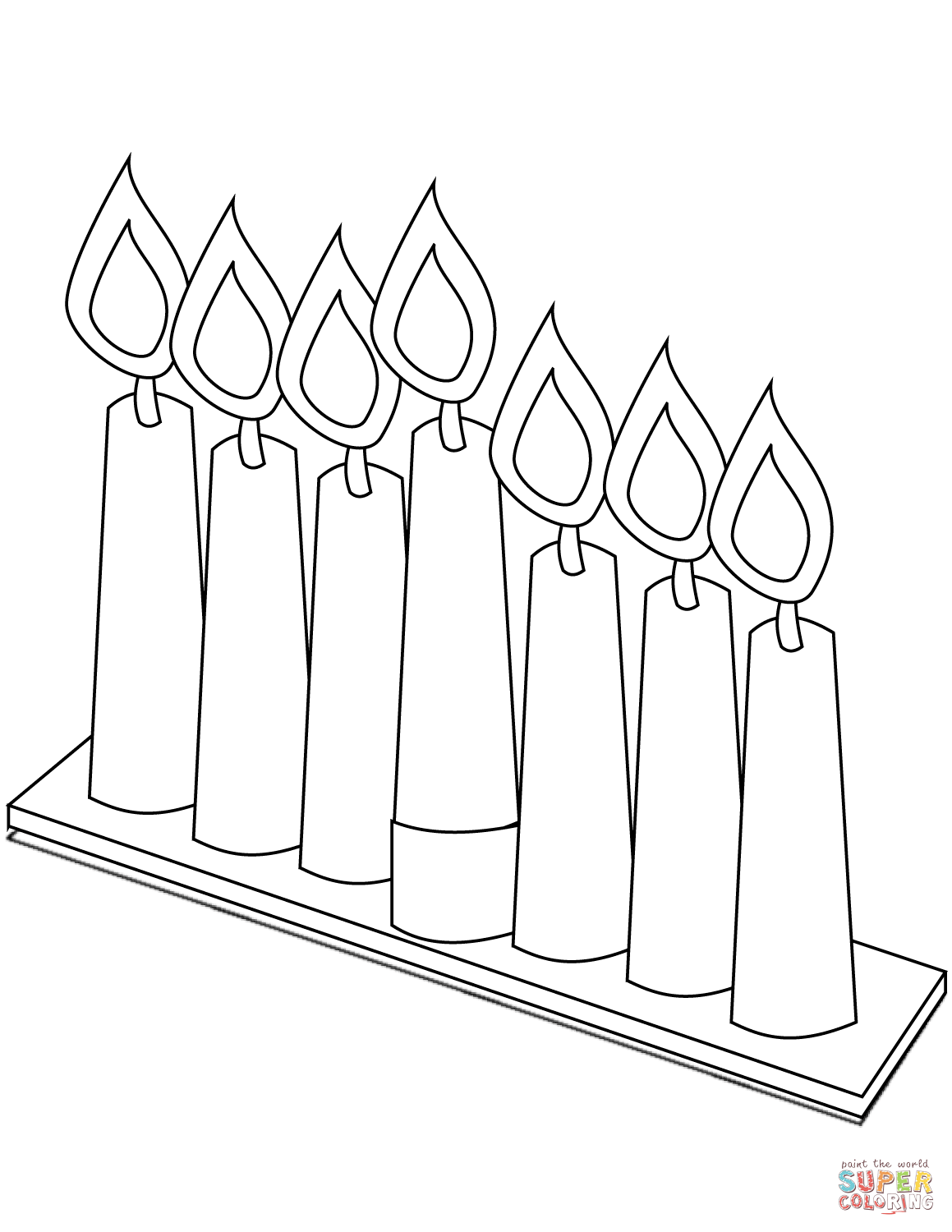 Seven Candles For Kwanzaa Coloring Page Free Printable Coloring