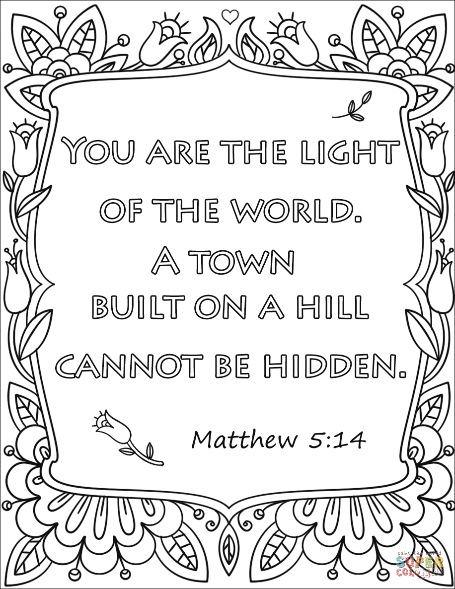 Free Coloring Pages Download You Are The Light Of World A Town Built On