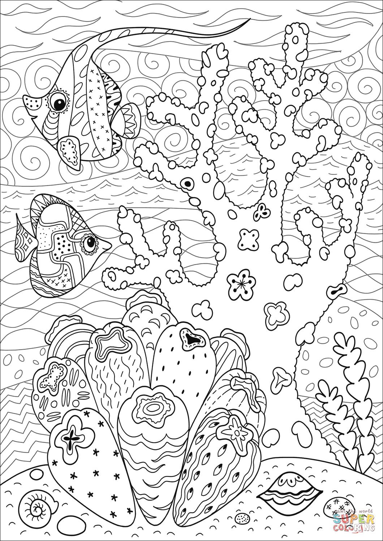 Butterflyfish Enjoying Coral Reef Coloring Page Free Printable