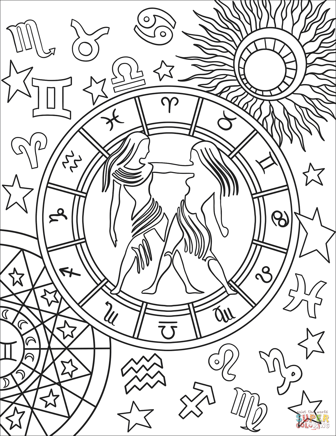 Gemini Zodiac Sign Coloring Page Free Printable Coloring Pages