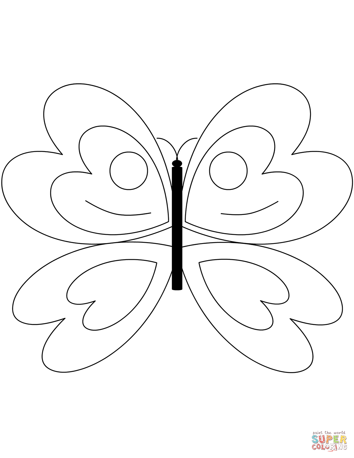 Simple Butterfly Coloring Pages Free Coloring Pages Download | Xsibe ...