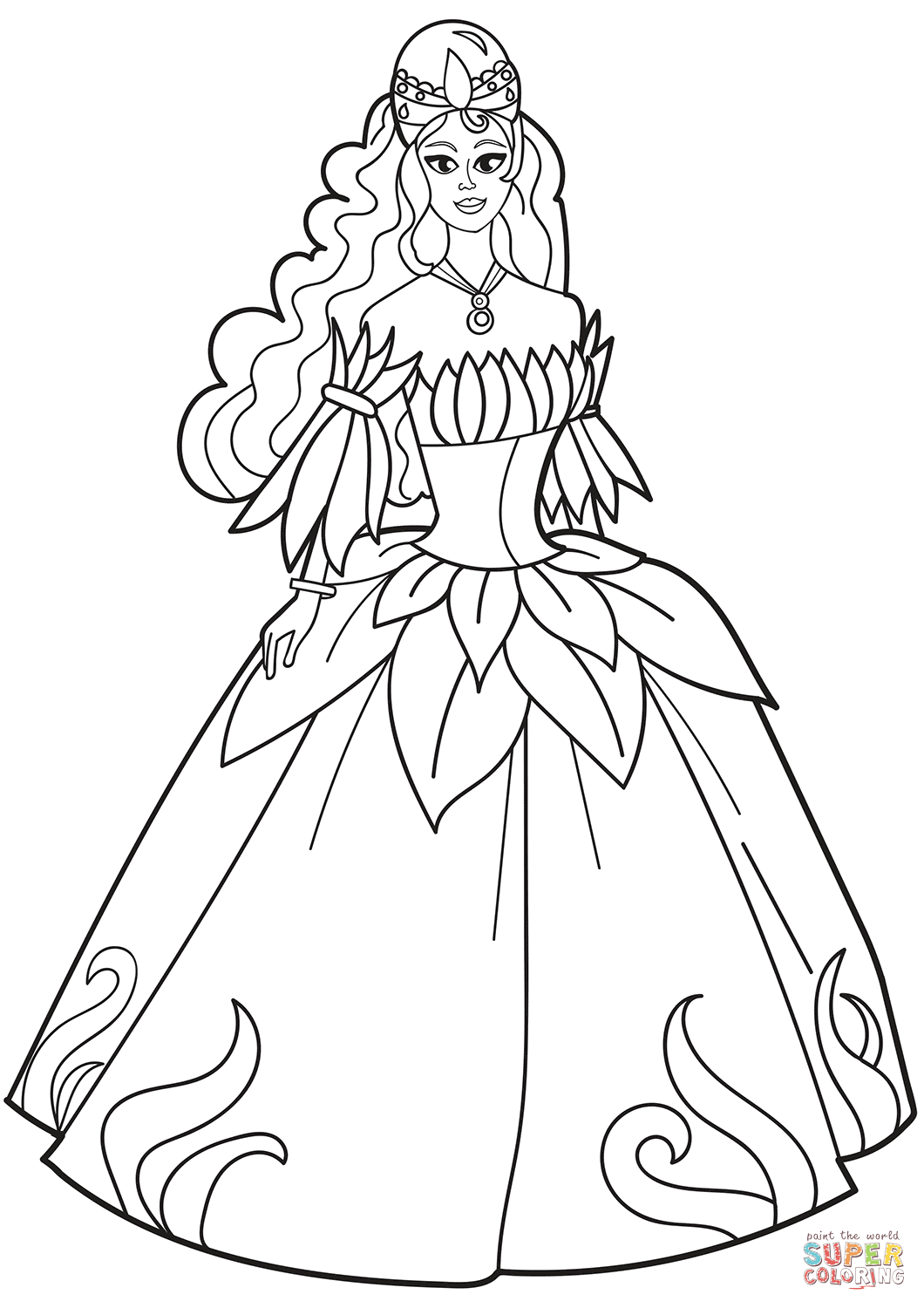 Princess In Flower Dress Coloring Page Free Printable Coloring Pages