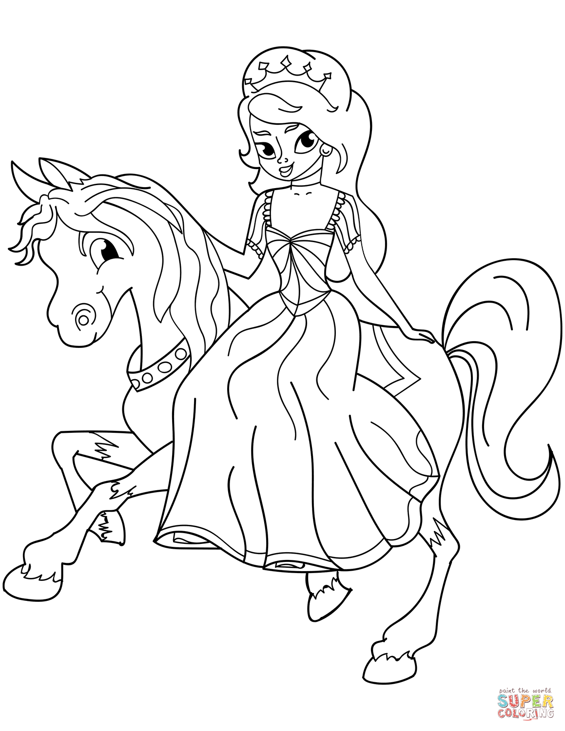 Princess Riding Horse Coloring Page Free Printable Coloring Pages
