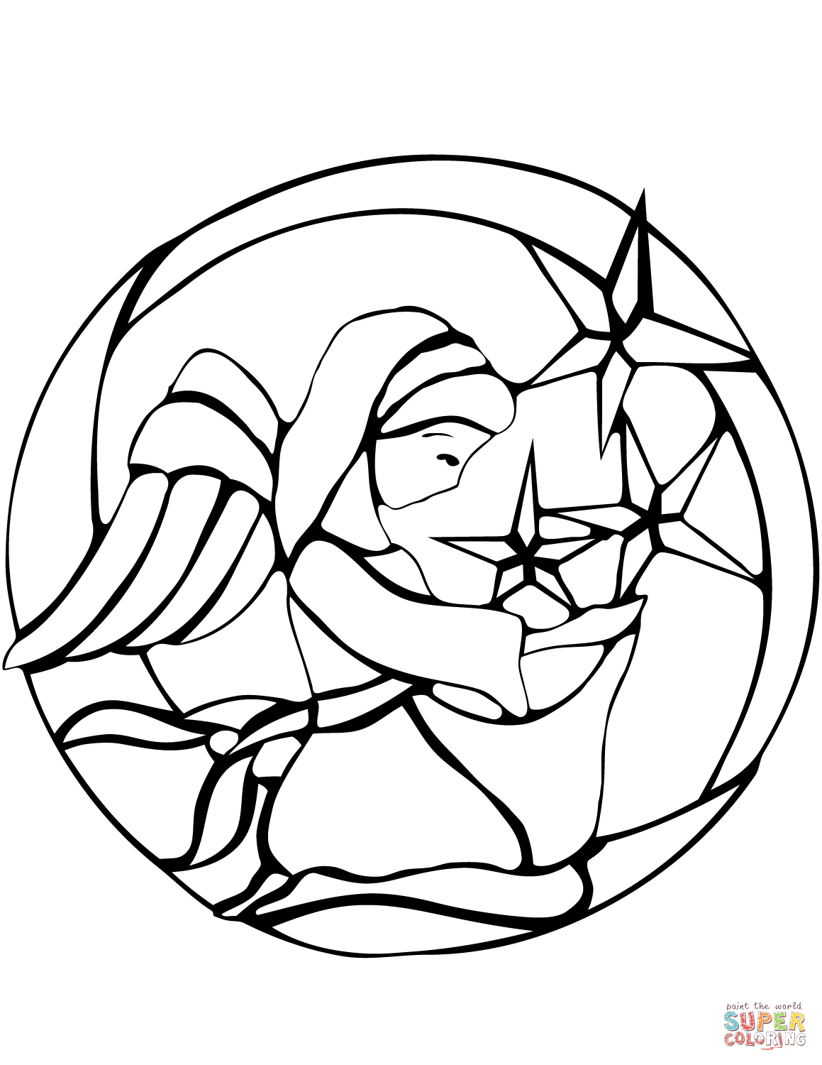 Christmas Angel Stained Glass Coloring Page Free Printable
