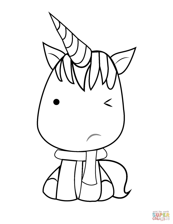 Kawaii Unicorn Coloring Page Free Printable Coloring Pages