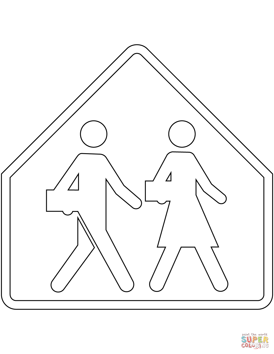 School Crossing Sign In Quebec Coloring Page Free Printable