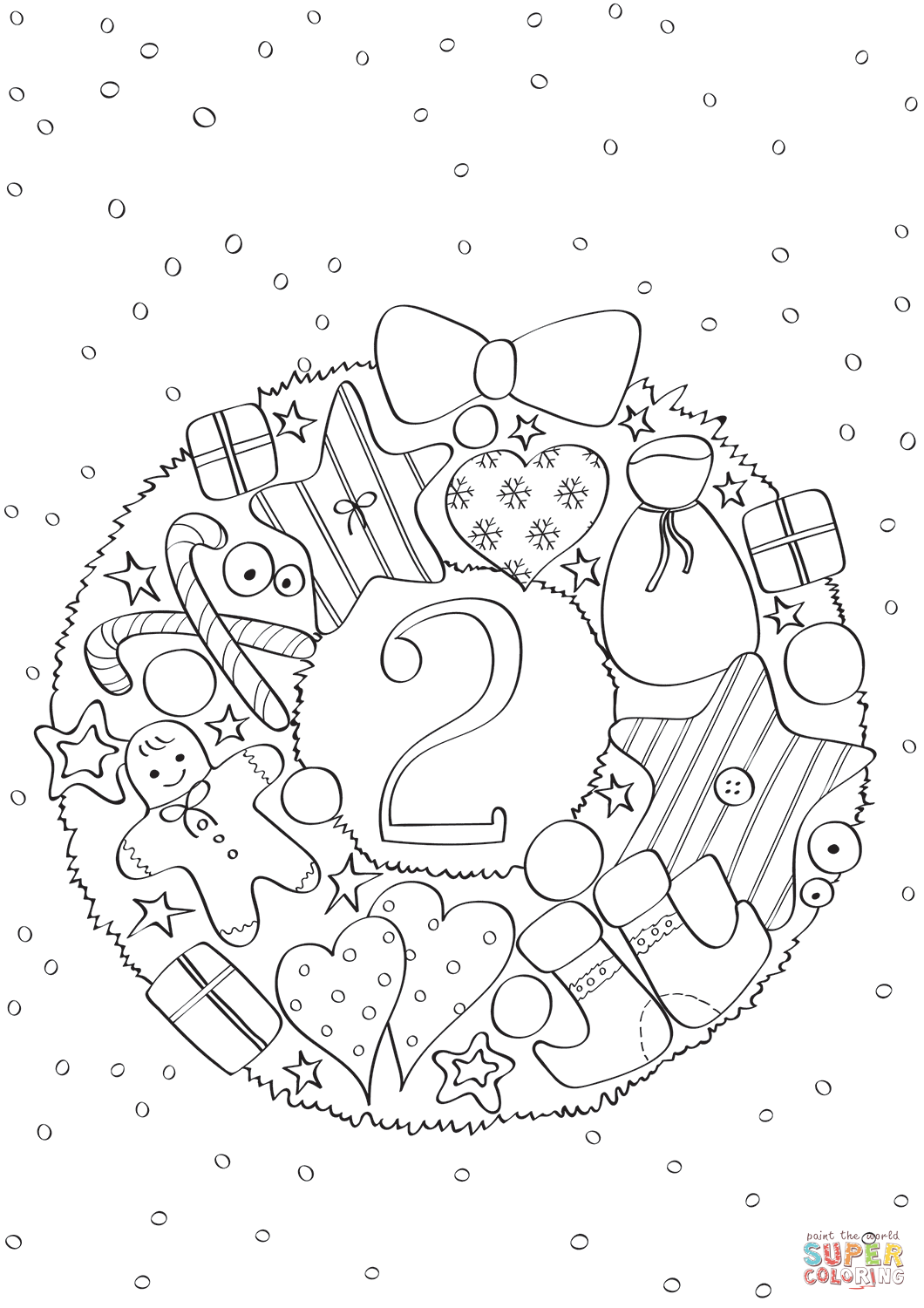 December 2 With Christmas Wreath Coloring Page Free Printable