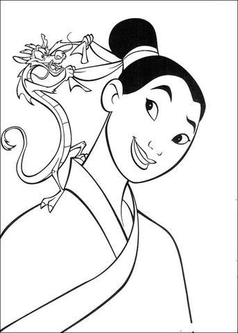 mulan coloring page # 5