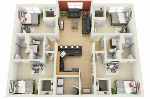 4 Bedroom House Floor Plans 3d   House Floor Plans Remarkable 4 Bedroom Small House Plans 3d Smallhomelover 2 Things To 4  Bedroom House Floor Plans