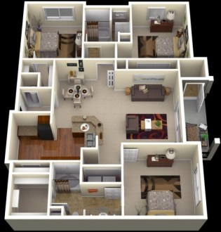 Inspiring One Bedroom House Plans Httpwwwcrescentcameronvillage 4     Inspiring One Bedroom House Plans Httpwwwcrescentcameronvillage 4 Bedroom  House Plan 3D Image