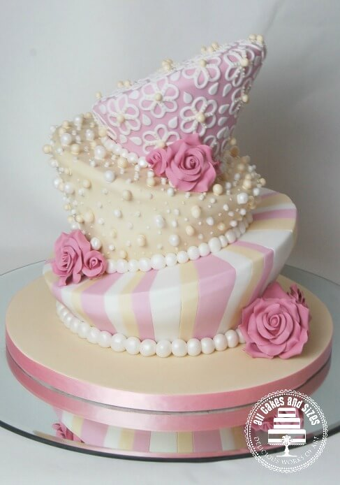 Three Tier White Wedding Cake With Pink Roses   Small Pink and White Wedding Cake   See Five Ideas