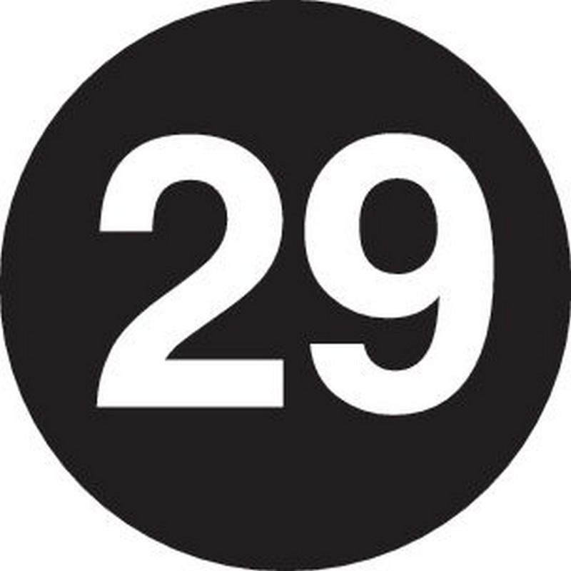 """2"""" Diameter number 29 circle labels (500 per Roll)"""