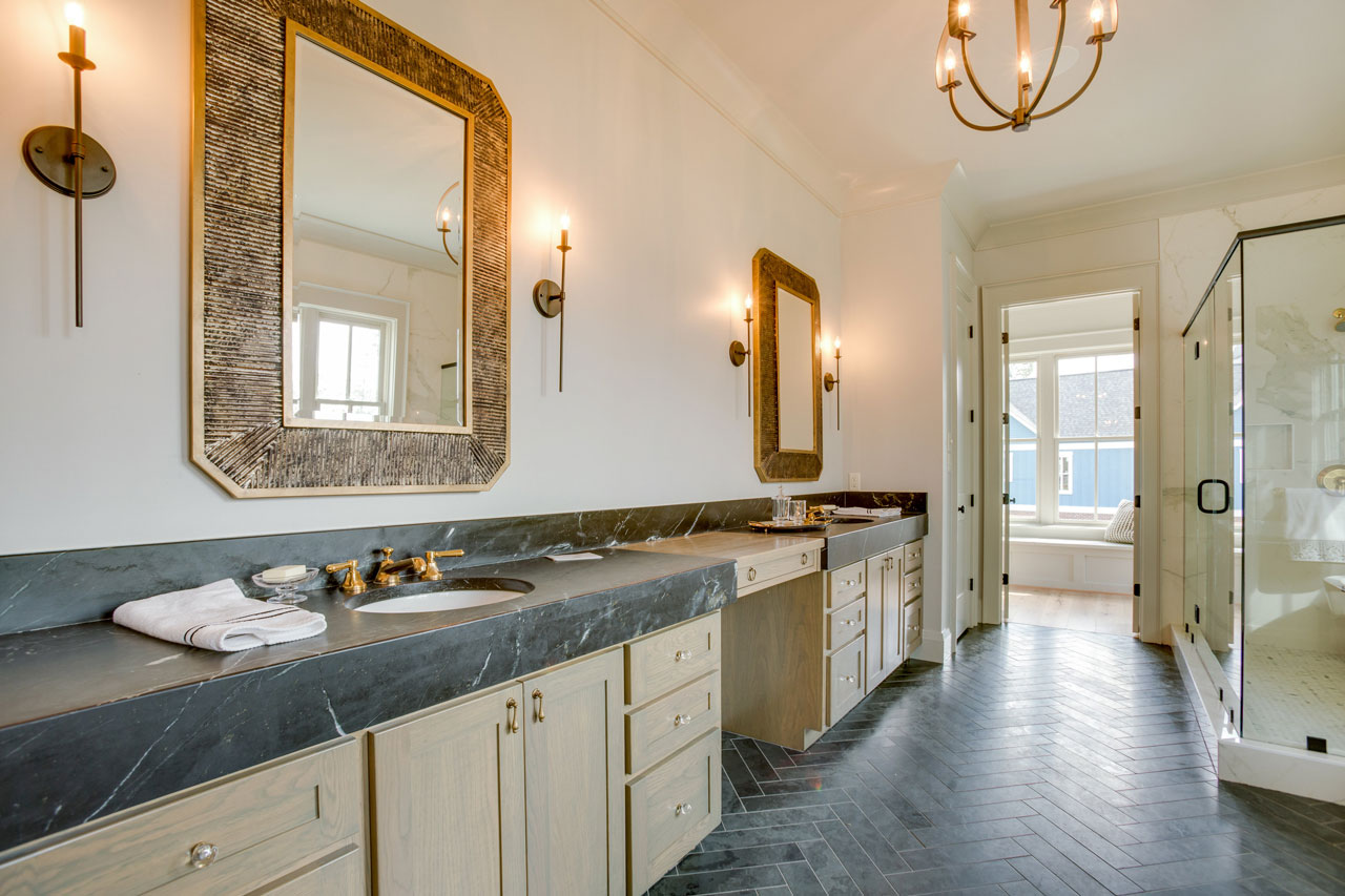 Stunning Master Bathroom With Soapstone Countertops