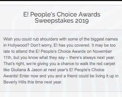 E! People's Choice Awards Sweepstakes 2019
