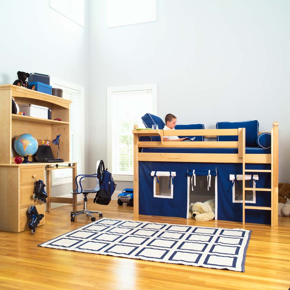 Play Fort Low Loft Bed By Maxtrix Kids Blue White On