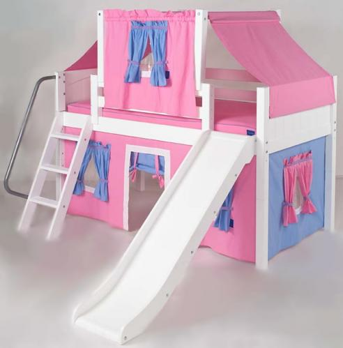 2 Story Playhouse Low Loft Bed W Slide By Maxtrix Kids