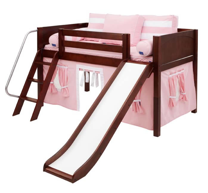 Low Loft Playhouse Bed W Slide By Maxtrix Pink White On
