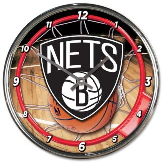 Brooklyn Nets Chrome Team Clock
