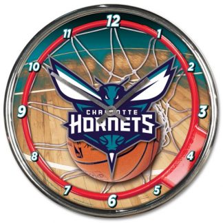 Charlotte Hornets Chrome Team Clock