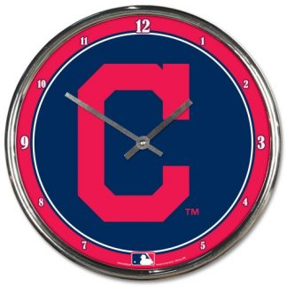 Cleveland Indians Chrome Team Clock
