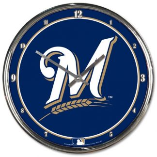 Milwaukee Brewers Chrome Team Clock