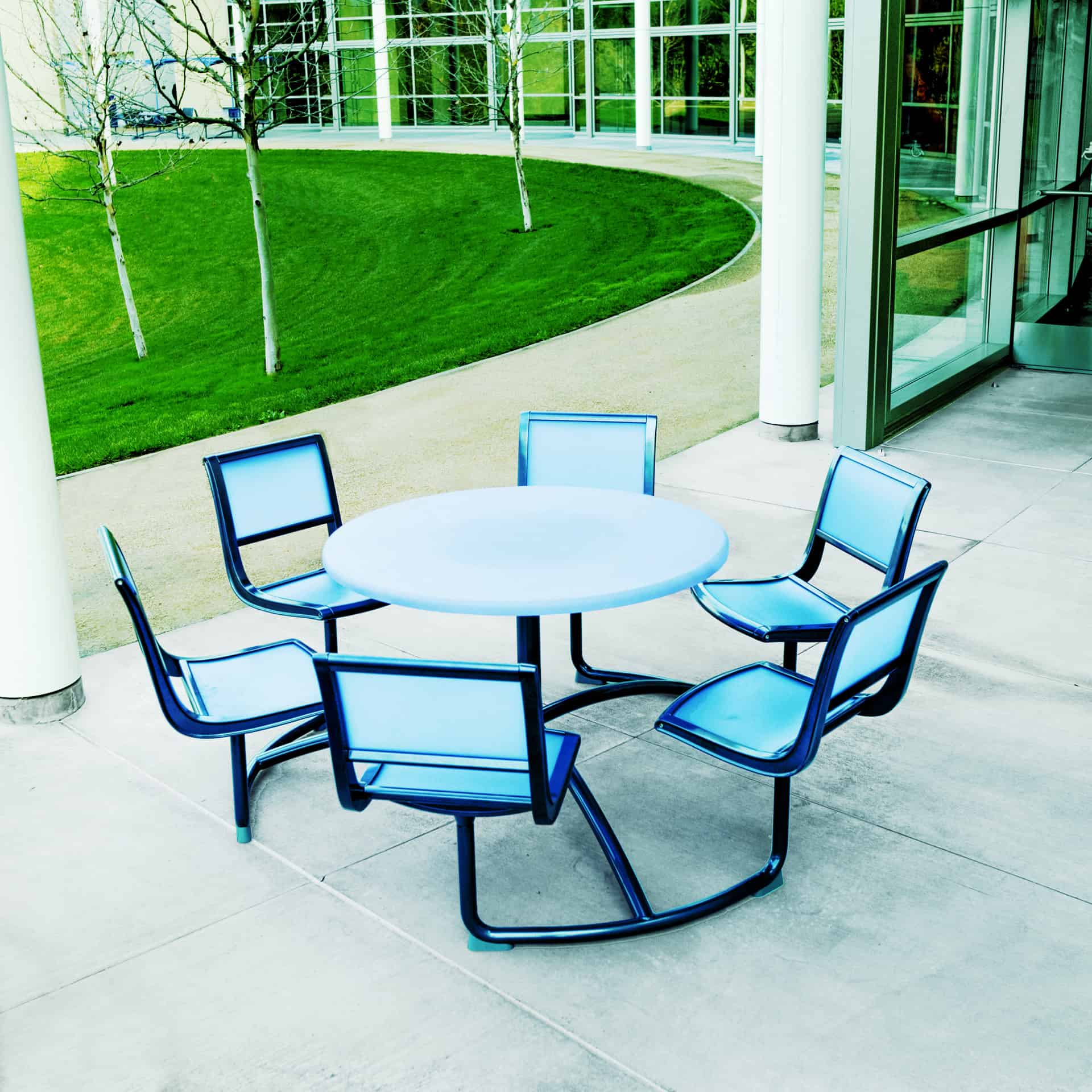 Office Chairs Set Outside And Table