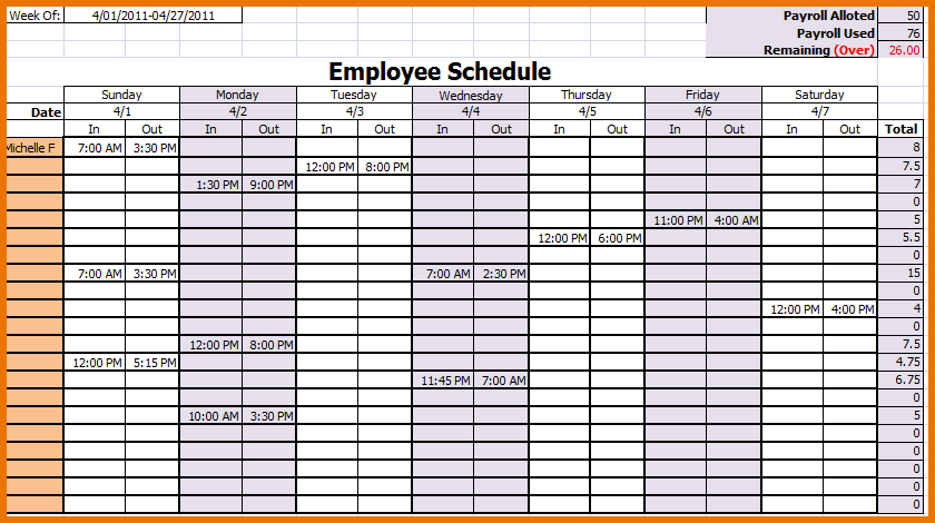 Blank Employee Monthly Schedules