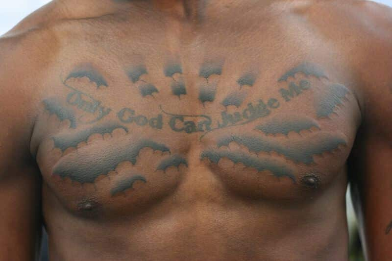 Tattoo Chest And Clouds Sun Rising
