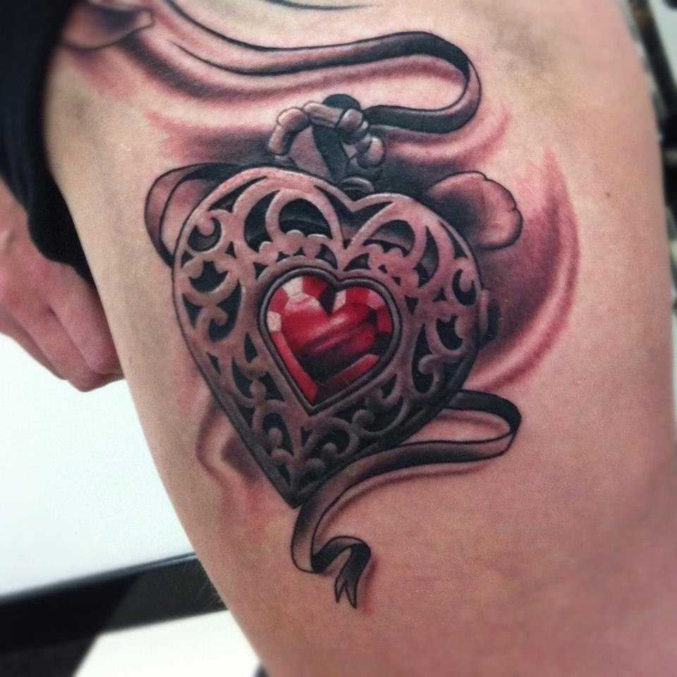 Knife Tattoos With Hearts And Ribbon