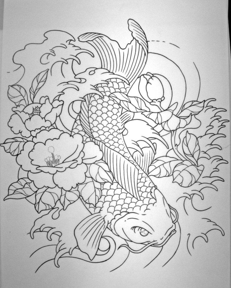 Pencil drawings of koi fish and lotus flower mightylinksfo