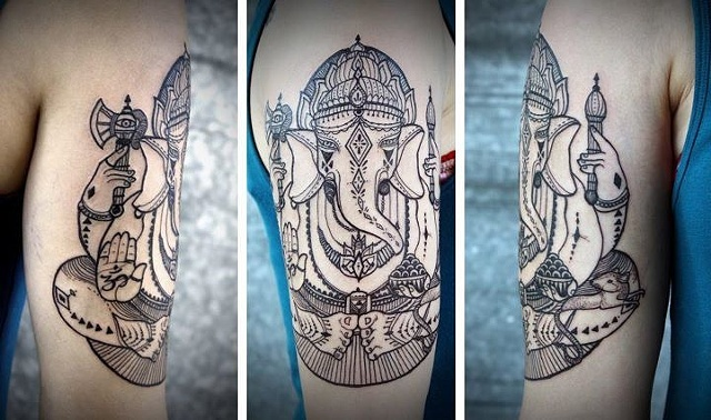 Half Sleeve Elephant Head Ganesha Tattoo