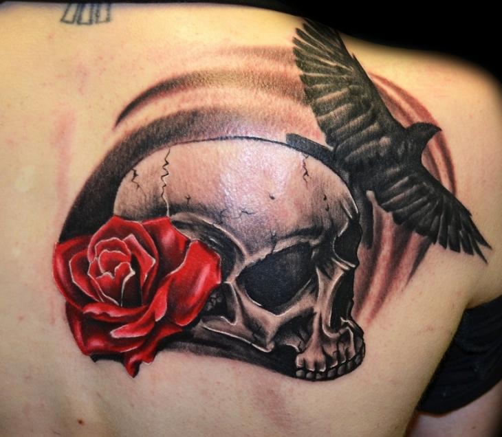shoulder skull rose tattoo - 730×636