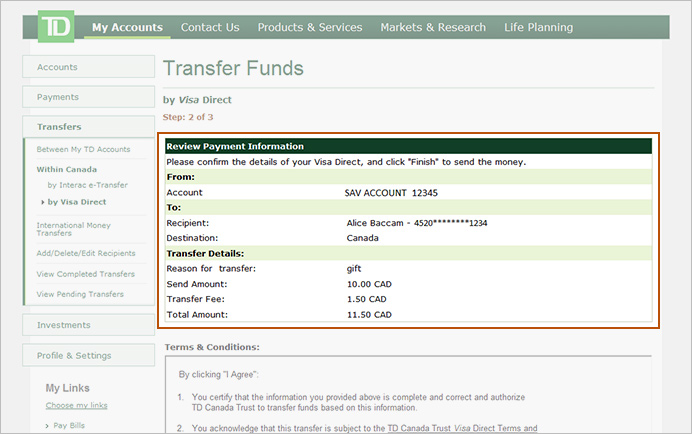 Td Bank Transfer Another Person