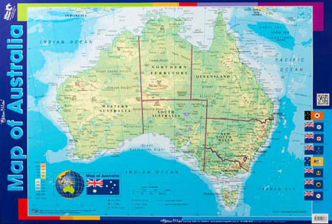Map of Australia Double Sided Chart   Gillian Miles Educational     Map of Australia Double Sided Chart