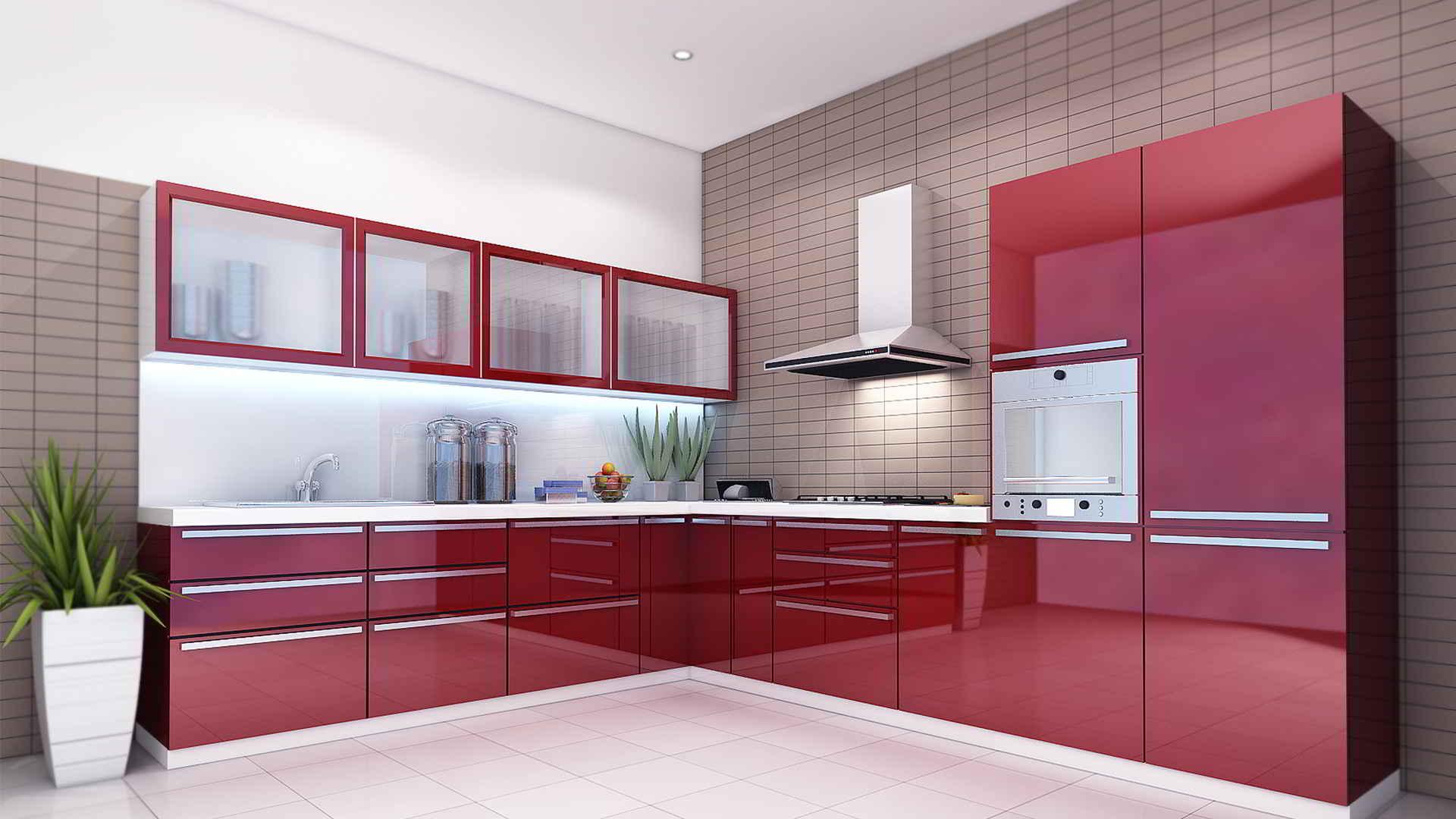 L Shaped Indian Modular Kitchen