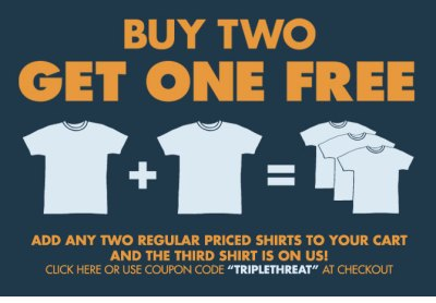 Buy 2 t-shirts and get 1 Free at Busted Tees - Tee Reviewer