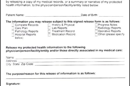 record release form template medical release form template selo l