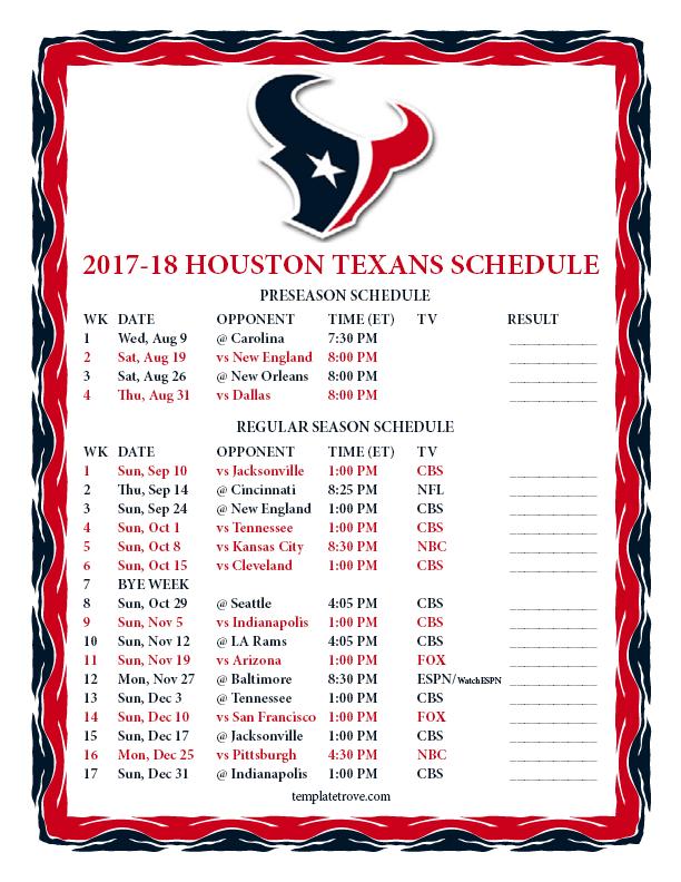 Texans 2017 Schedule Printable