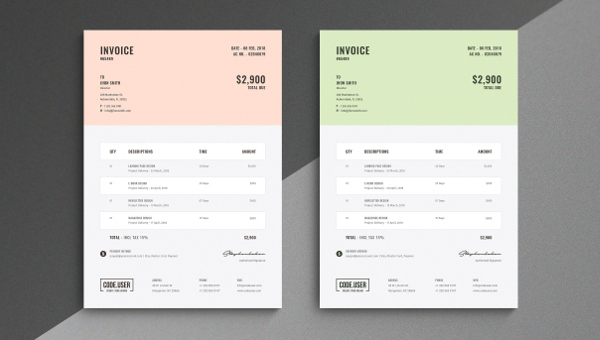 27  Simple Invoice Templates   Free PSD  Sample  Example Downloads Simple Invoice Template