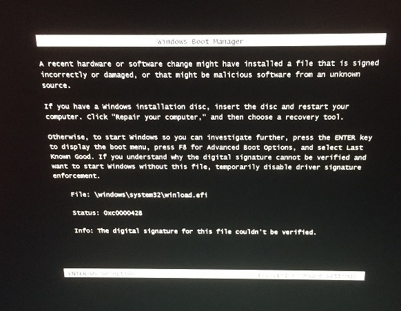 Secure Boot Not Enabled System