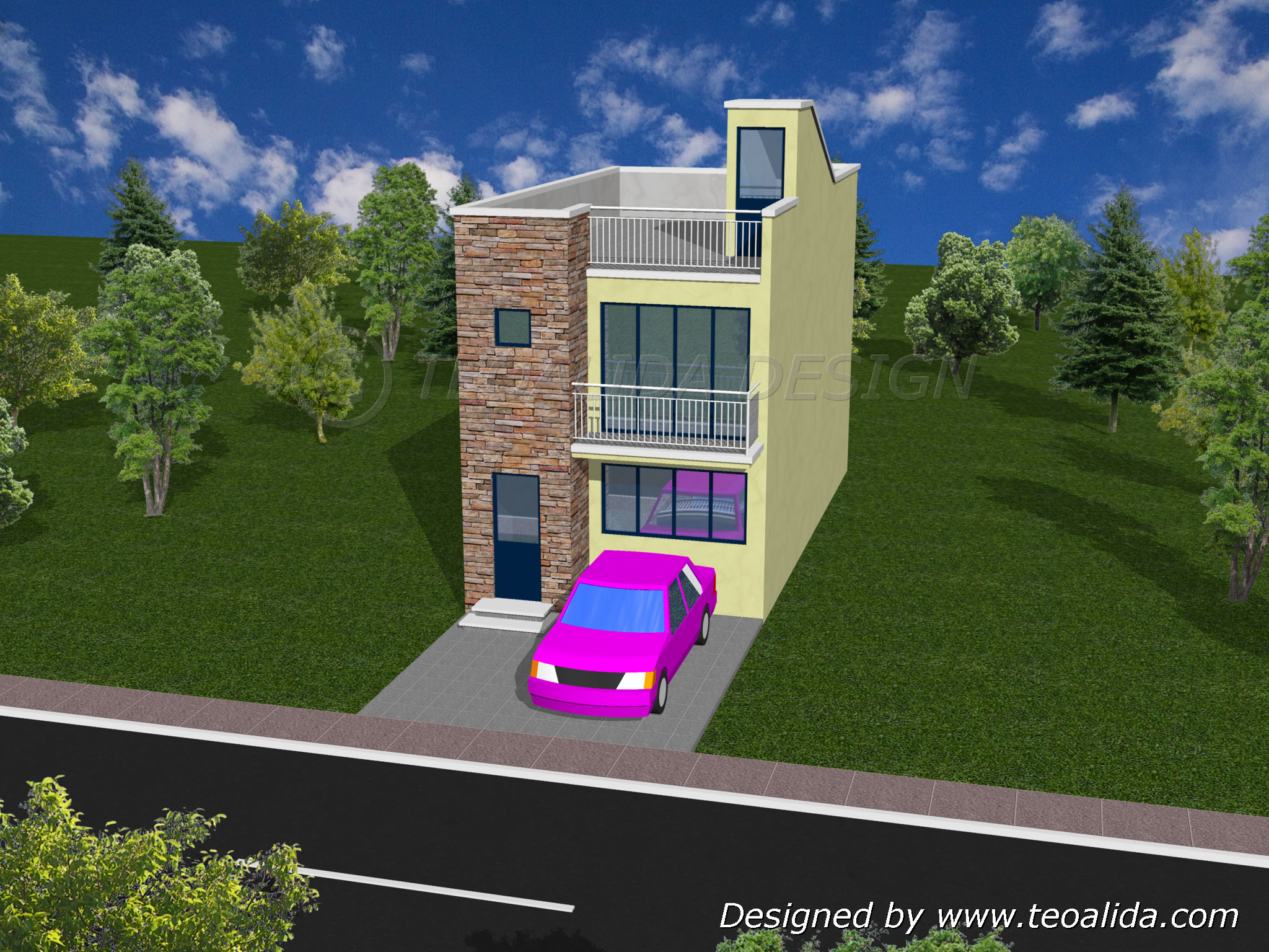 House floor plans 50 400 sqm designed by Teoalida   Teoalida Website 3D house design front view
