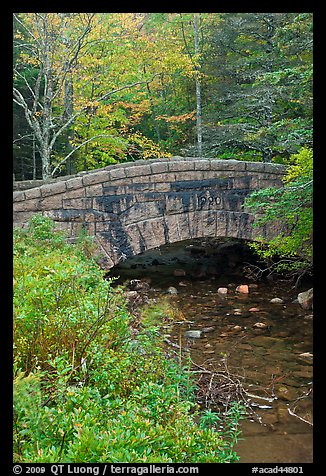 Picture/Photo: Stone bridge over stream. Acadia National Park