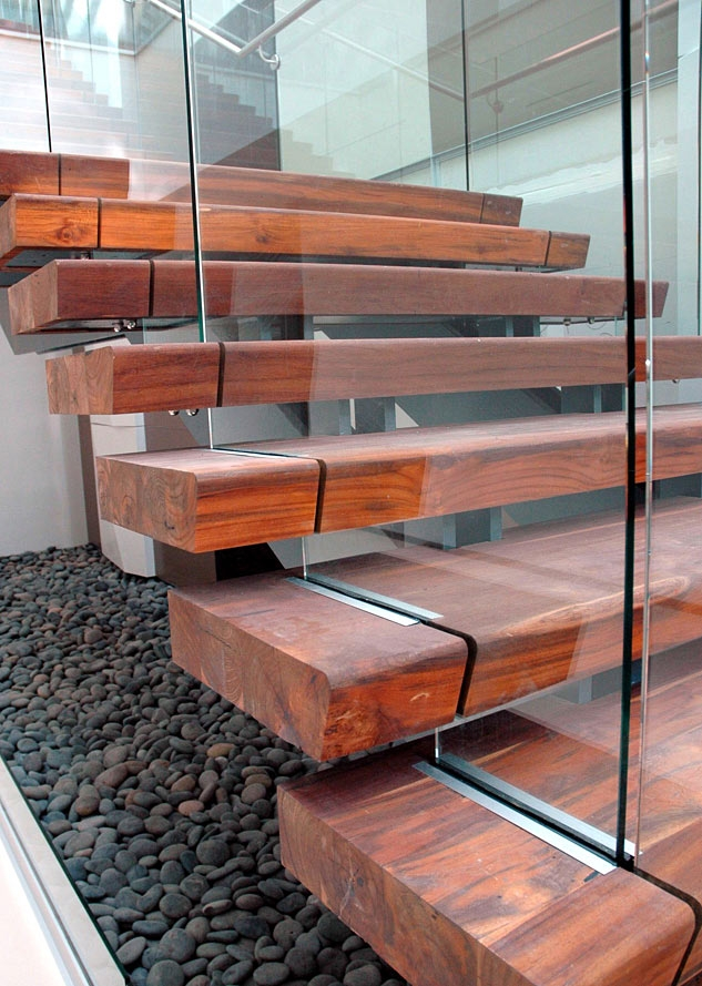Rethinking The Humble Stair Tread 8 Reclaimed Wood Stair Tread | Dark Wood Stair Treads | Timber | White Handrail | Dark Stained | Natural Wood | Wood Finish